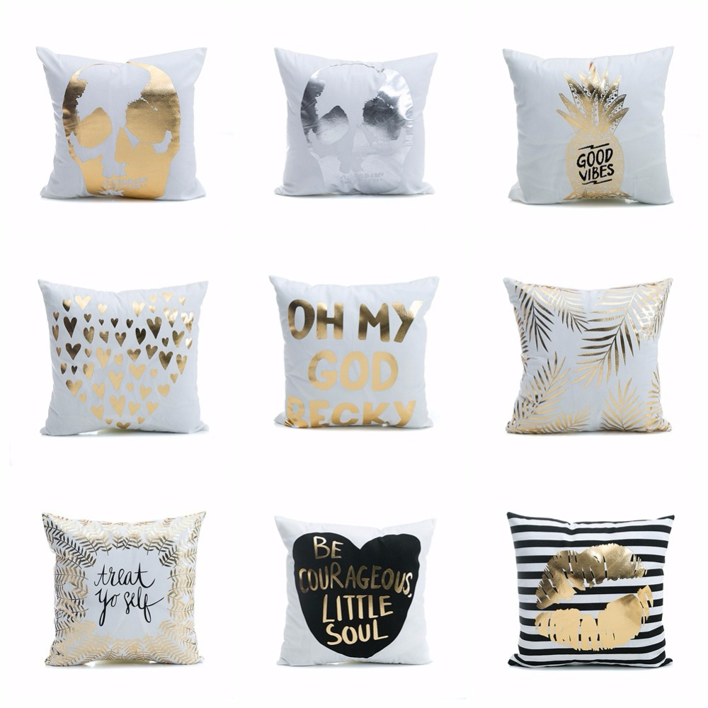 Super Soft Pineapple Love Letters Bronzing Silver Pillows 1