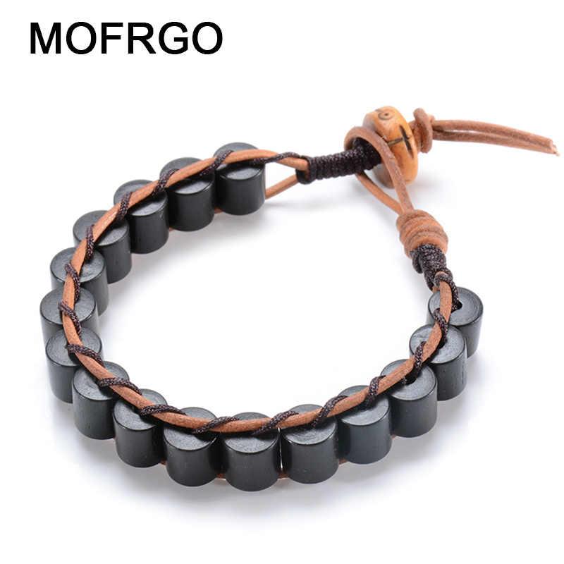 aedccc3715b5 MOFRGO EBONY Wood Cylinder Beads With Yak Bone Handmade Weave Leather Bracelet  Men Brown Rope Friendship