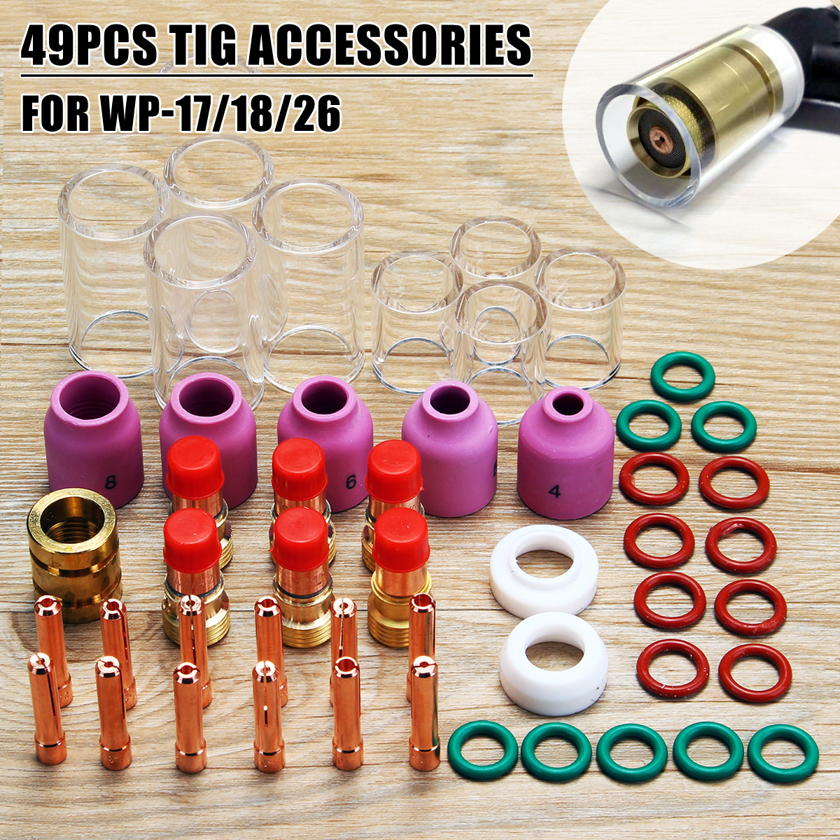 50Pcs TIG Welding Torch Stubby Gas Lens Glass Pyrex Cup Collect Body Nozzle Kit for WP-17/18/26 Series Welder Tool Accessory 17pcs tig welding torch stubby collet gas lens glass nozzle pryex cup kit with heat resistant o rings for wp 17 18 26 series