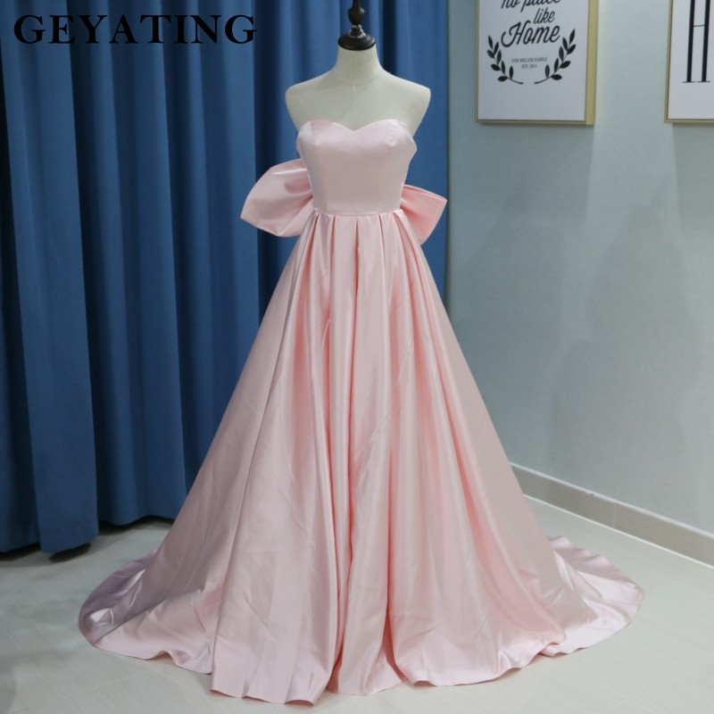 2019 Blush Pink Satin Long   Prom     Dress   with Big Bow Sweetheart Sweep Train Elegant Evening   Dresses   Wedding Formal Party Gowns