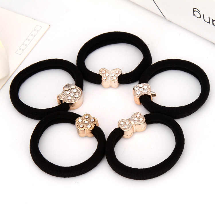 1PCS Girl Butterfly Bow Knot high elastic bandage head bands diamond crown hairbands scrunchie hair accessories Gum for women