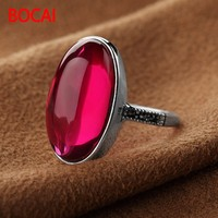 S925 Sterling Silver Ring fine silver synthetic red corundum long ring new casual