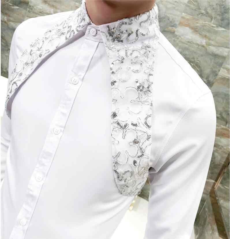 Мужская кружевная рубашка, новинка 2019 года, дизайнерские свадебные рубашки для мужчин, модные вечерние Клубные черно-белые рубашки с длинными рукавами для курения
