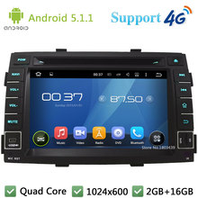 Quad Core 7 «HD 1024*600 2DIN Android 5.1.1 Автомобильный Dvd-плеер Радио Экран ПК USB FM DAB + 3 Г/4 Г WI-FI GPS Для Kia Sorento 2011