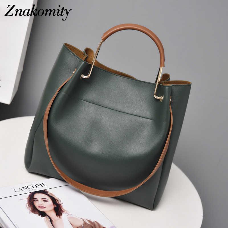 Znakomity ファッション女性 Pu レザーはハンドバッグ高級大容量女性バッグソリッドショルダーバッグバケットバッグ女性のための 2019