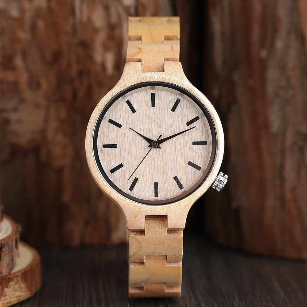 Luxury Natural Maple Bamboo Wood Watches Ladies Fashionable Quartz Wristwatch Women's Bracelet Female Clock Relogio Feminino