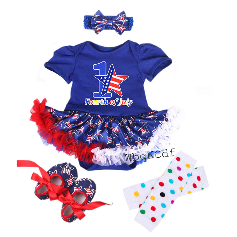 Baby 4th of July Clothing Sets Star Outfits Bebes Romper Dress First Costumes Lace Tutu Dress Newborn Halloween Skull Vestidos baby girl clothing sets easter baby girl lace tutu romper dress jumpersuit headband shoes 4pcs set bebes first birthday costumes