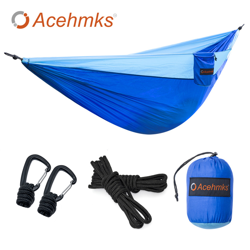 Acehmks 2 Person Hammock With Strong PolyesterTree Ropes And Carabiners Easy To Set Up For Outdoor Indoor Aluminum Alloy Snap the ropes to skip and the ropes to know