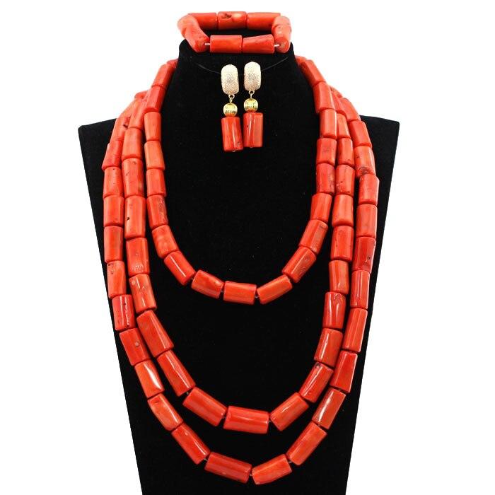 Takı ve Aksesuarları'ten Takı Setleri'de Moda nijeryalı mercan boncuk takı seti kadınlar için gerçek doğal mercan boncuk afrika düğün takısı seti gelin hediye takı CG054'da  Grup 3