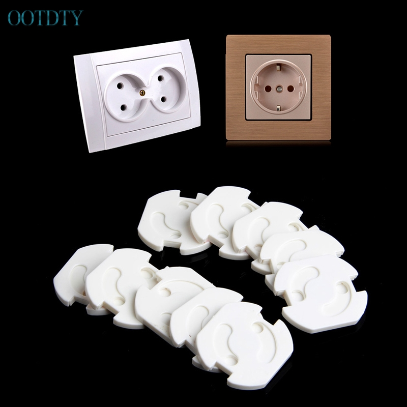 Hot Selling 10Pcs Mains Plug Socket Cover Baby Proof Child Safety Plug Guard Protector #330