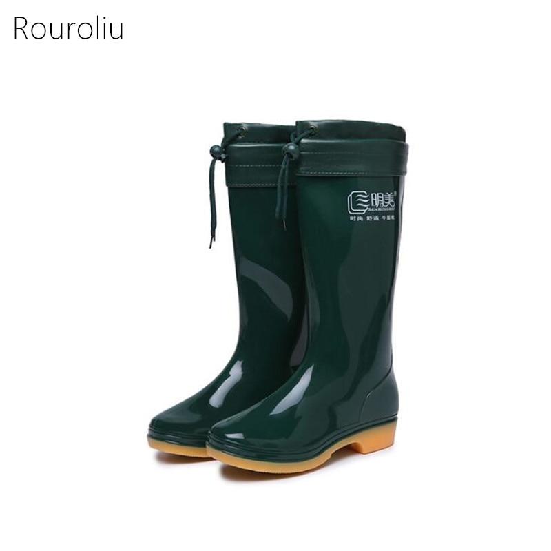 Rouroliu Women Non-Slip Hard-Wearing Warm Rainboots Waterproof Water Shoes Wellies Spring Autumn Rain Shoes Woman RB30