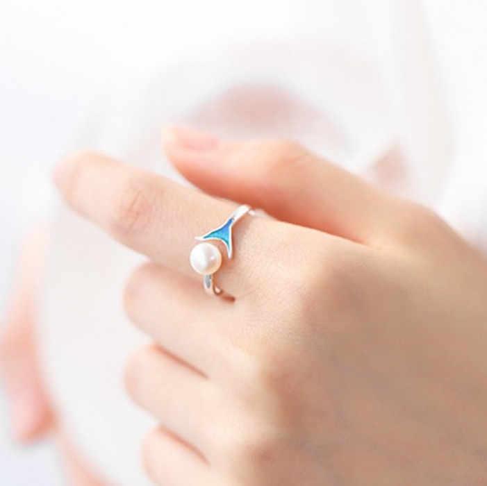 New Trendy Bohemian 925 เงินสเตอร์ลิง Mermaid Tail แหวนหญิงของขวัญ Vintage ขนาดใหญ่หมั้นแหวน Anillos Anelli