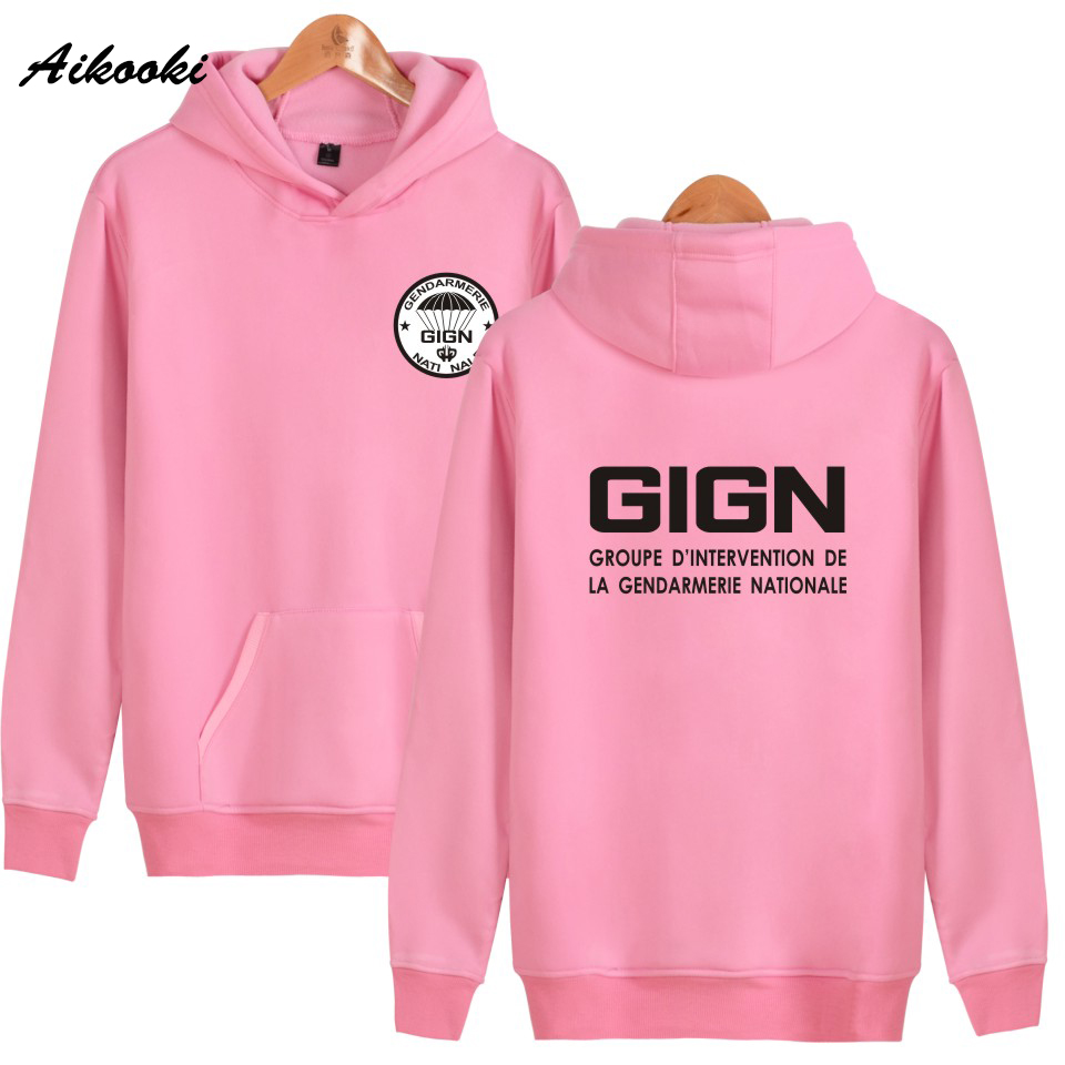 Aikooki 2018 Hot GIGN The New Gendarmerie Men Women Hoodies Fashion Hip -Hop Male Hooded Sweatshit Leisure Clothes Polluvers