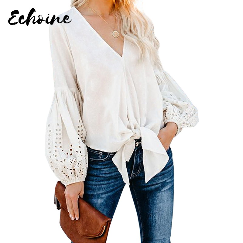 Echoine Solid Red/White/Yellow Rhapsody Cotton Balloon Long Sleeve Tie Top Women Autumn Spring V Neck Plus Size S-XXL Blouse