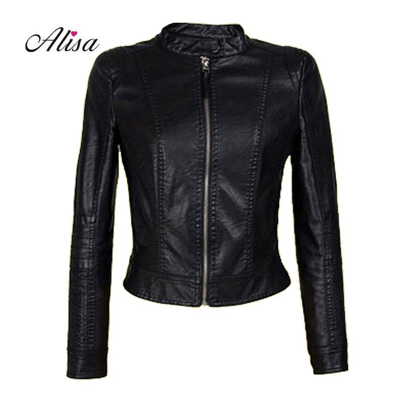New 2018 Laides Faux   Leather   Jacket Jaqueta Couro Feminina Women Causal Long Sleeve Black Pink Women Punk Moto Biker Pu Jacket