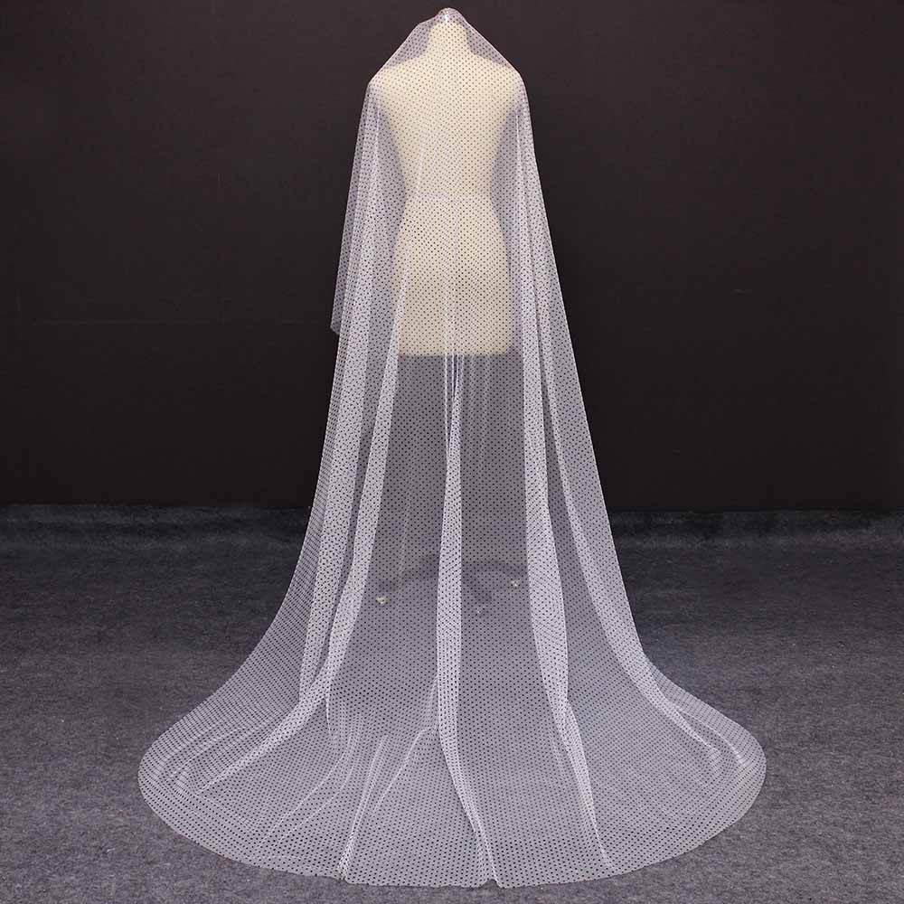 New Long Ivory Tulle Wedding Veil with Black Dot Cover Face 3M One Layer Bridal Veil WITHOUT Comb Velo Novia