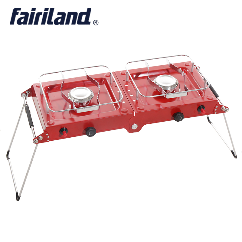 Lightweight Folding 2 burner Portable camping stove propane butane  gas outdoor stove camping cooker camping cooking equipment