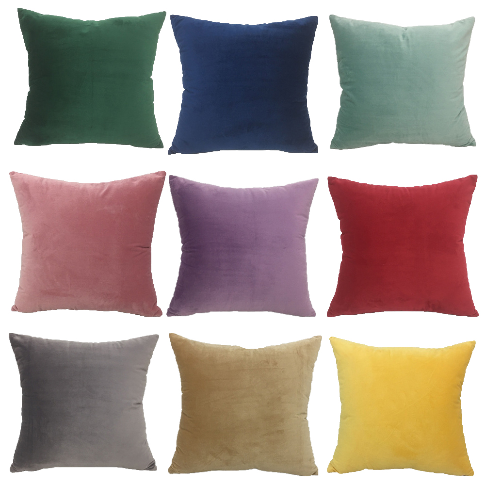 Solid Velvet Decorative Cushion Cover Throw Pillow...