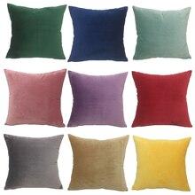 Funda de cojín decorativa de terciopelo liso, funda de almohada de 45x45cm, funda de almohada para decoración del hogar, funda de almohada para sofá, 3 tamaños grandes