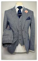 Самые последние модели брюк для костюма серый Твид Для мужчин Костюмы комплект из 3 предметов Slim Fit Жених Смокинги для женихов Ман Свадебные