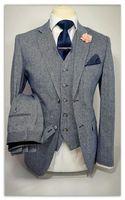 latest coat pant designs Gray Tweed Men Suits 3 Pieces Slim Fit Groom Tuxedos Mans Wedding Prom Blazer Jacket+Pants+Vest+Tie