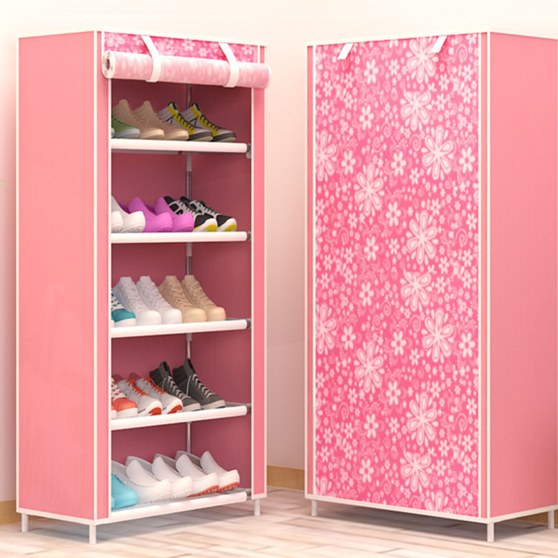 Image 5 - Maple Leaf Candy Color Shoe Racks Cabinet Shoes Rack Space Saver Boot Organizer Shelf Home Furniture DIY Assembly Non woven-in Shoe Cabinets from Furniture