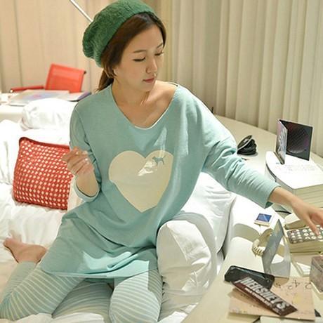 Envío Gratis Primavera y Otoño Pijama de Manga Larga de Corazón Encantador Pijamas S-xxl ropa de Dormir ropa de Hogar de Seda de la Leche ropa