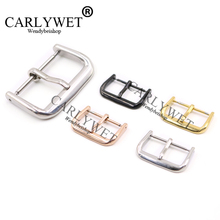 CARLYWET 14 16 18 20 22mm Wholesale 2mm Tang Tongue Silver Black Rose Gold polished Stainless Steel Pin Buckle For Watch Strap