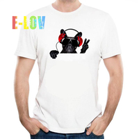 Rock Style Men S Summer Tops Fashion Crazy DJ Cat Dog Design T Shirt Cool Printed