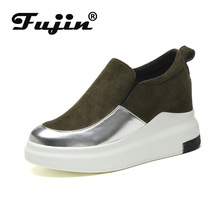 Fujin Spring and Autumn Thick Platform Shoes Casual Color Matching Round Head Slip Square Female Muffin Sneakers