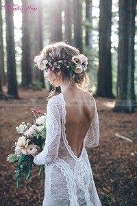 Image 4 - Vintage Spitze Backless Boho Strand Hochzeit Kleider Langarm Nude Futter Land Bohemian Wedding Kleider Hippie Gypsy Braut Kleid
