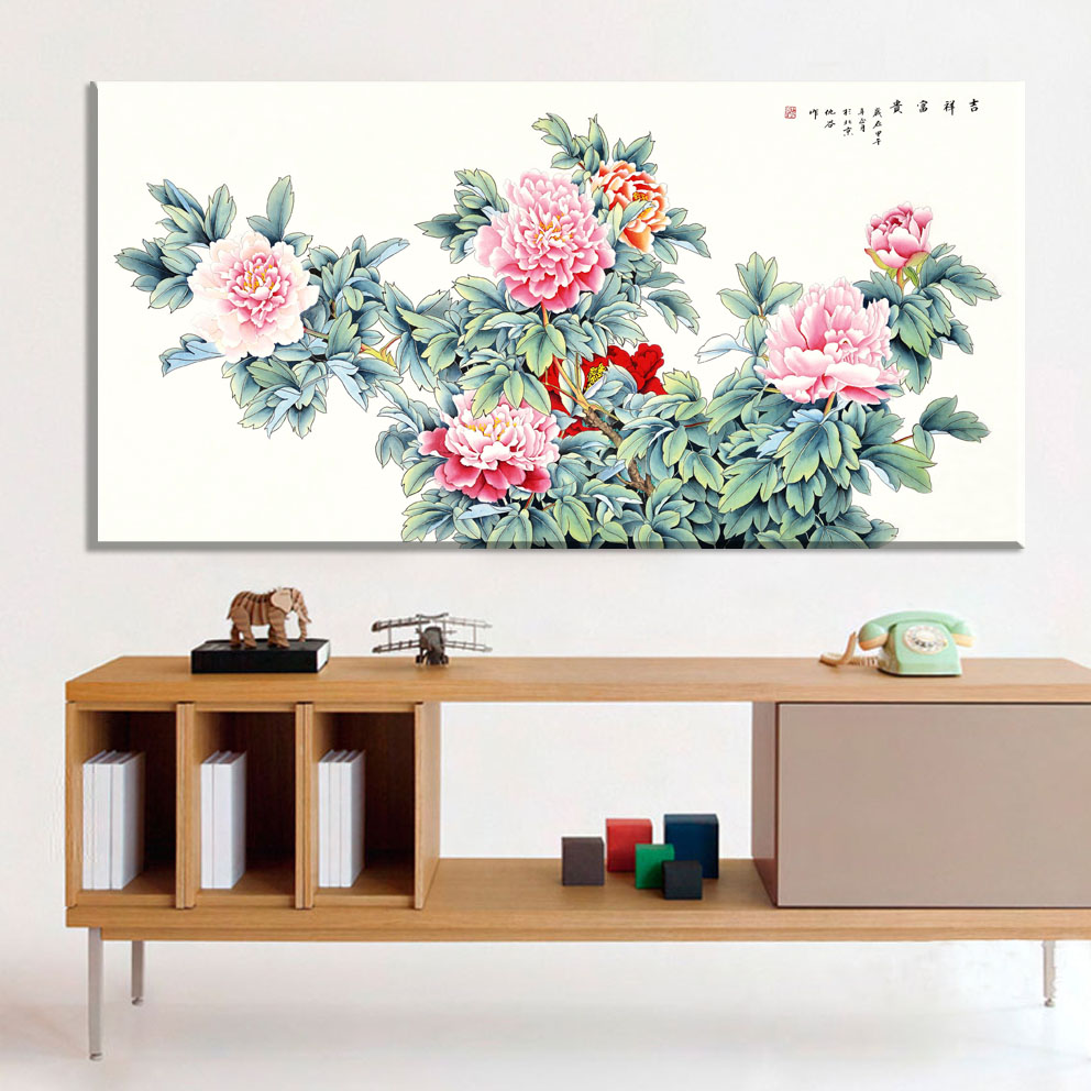 High-end and classy peony red pink chinese paintings flowers pictures canvas vintage home decor paintings on the wall decorative