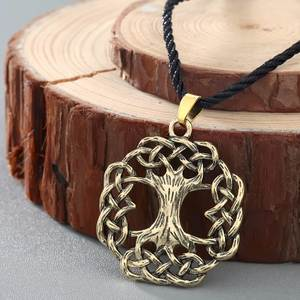 QIMING Scandinavian Jewelry Pendant Bronze Necklace Viking Ash-Tree Silvered Yggdrasil