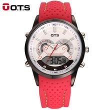 OET Nuevos Hombres Relojes de pulsera de Moda de Lujo Famosos hombres de la Marca de Cuero de LA PU Correa de Reloj Resistente Al Agua LED Digital Relojes Deportivos