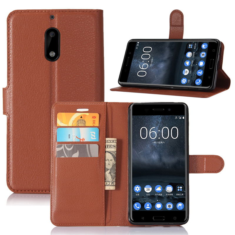 For <font><b>Nokia</b></font> <font><b>6</b></font> <font><b>2017</b></font> Wallet Case Flip Leather Phone Cover for <font><b>Nokia</b></font> <font><b>6</b></font> TA-1021 TA-1033 Funda Bumper Case TPU Shell with Card Holders image