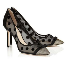 Hot Sexy Fashion Black Mesh Pointed Toe Shoes Thin Heels Dot Women's Shoes Mixed Colors Big Size Pumps цена