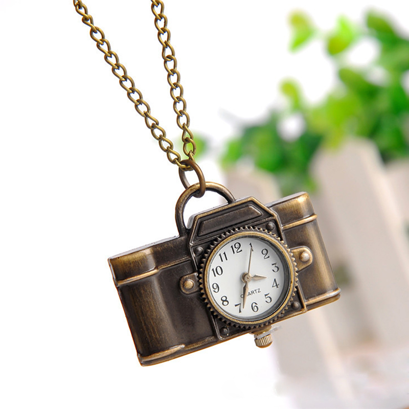 2017 Vintage Bronze Quartz Pocket Watch Lovely Camera Pendant Chain Necklace Clock women men Christmas gift birthday unique smooth case pocket watch mechanical automatic watches with pendant chain necklace men women gift relogio de bolso