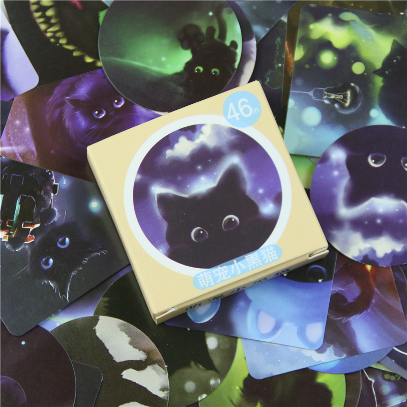 46 Pcs/box Black Cat Mini Paper Sticker Decoration Diy Diary Scrapbooking Sealing Sticker Kawaii Stationery Memo Pad