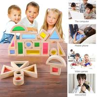 Creative Acrylic Rainbow Educational Toy Tower Pile of for Children Diy Wooden Assemblage Tower Pile Kids Wooden Building Block