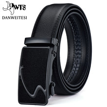 [DWTS] Fashion Designers Men Automatic Buckle Leather luxury Belt Business Male black buckle Belts for Men Ceinture Homme(China)