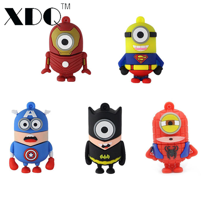 Minions memory stick SuperMan <font><b>SpiderMan</b></font> Captain Amercia model USB flash drive 16GB pendrive 32GB/8GB/64GB/128GB pen drive U disk