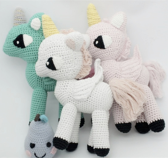 ФОТО New Horse Pillows 30cm Baby Sleeping Cute Kintted Animals Toys Children Bedroom Decoration Kids Gifts 3 Colors In Stock 1pcs