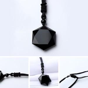 1 шт черный обсидиан ожерелья с подвеской из натурального камня для женщин мужчин кубический гексаграмма свитер ожерелье амулеты ювелирные изделия-талисманы
