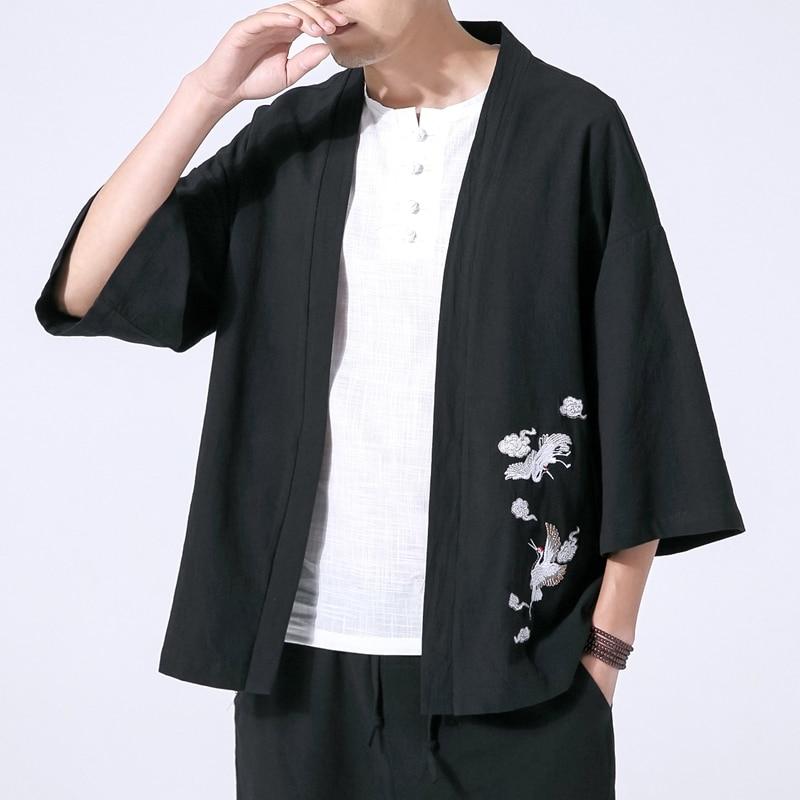 d42d0a898 Men Embroidery Cardigan Shirt Jacket Male Japan Style Fashion Casual Loose Short  Sleeve Kimono Shirt
