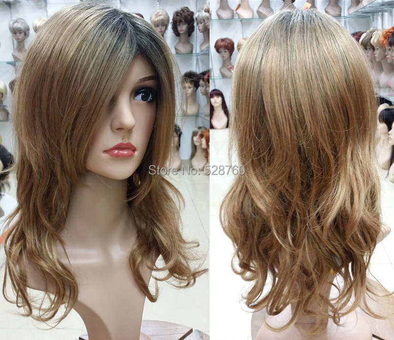 ФОТО Fashion Wig long wavy Blonde and Light Brown with dark root TOP quality hair wigs  Free shipping