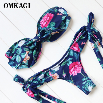 OMKAGI Printed Bikinis Swimwear Women Strapless Bikini Set Low Waist Bathing Suits Beachwear Padded Swimsuits Biquini Push Up