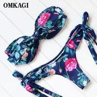 OMKAGI Printed Bikinis Swimwear Women Strapless Bikini Set Low Waist Bathing Suits Beachwear Padded Swimsuits Biquini
