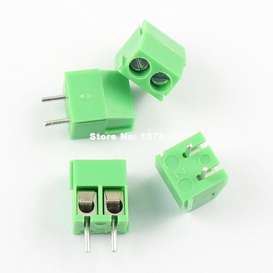 100pcs KF350-2P 3.5mm Pitch 2 pin Straight Pin PCB Screw Terminal Blocks