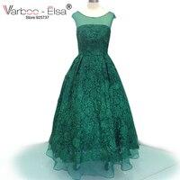 VARBOO ELSA Elegant Green Lace Embroidery Evening Dress 2017 Short Sleeve Scoop Neck Long Prom Dress