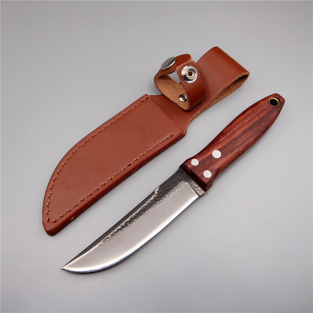 Japanese handmade camping high-carbon steel straight knife 58 hrc fixed blade outdoor pocket knife tools wood handle hunting handmade forged steel camping knife fixed blade marked clouds tactical hunting knife wood handle rescue tools 1217